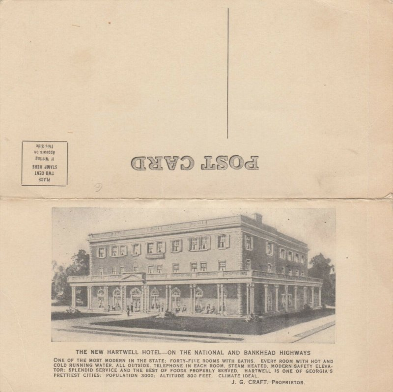 HARTWELL , Georgia, 1900-10s ; The New Hartwell Hotel, bifold w/map