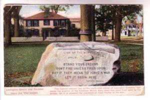 Here the War Began, Lexington Green and Boulder, Used 1907 Flag Cancel