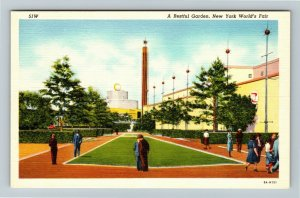 1939 New York World's Fair - The Star Pylon - Restful Garden - Linen Postcard