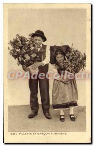Postcard Old Girl And Boy Alsatians