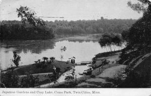 Twin Cities (Minneapolis-St Paul) MN Japanese Gardens~Board Bridge~Rowboat c1910