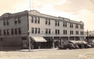 Green River Wyoming~Hotel Tomahawk Bldg~JC Penney~Drugstore-Coca Cola~1940s RPPC