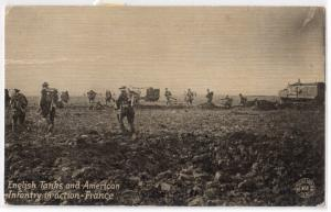 English Tanks & American Infantry in France