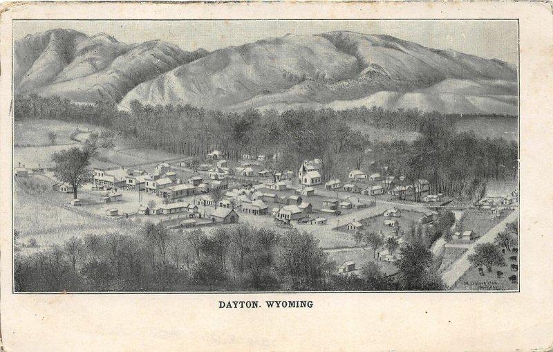 H8/ Dayton Wyoming Postcard 1906 Birdseye View Mountains