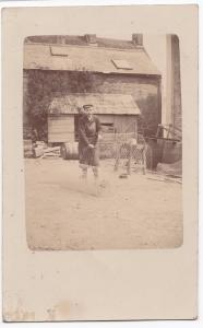 Social History, Apprentice Boy Cutting Wire Netting RP PPC, Unposted, c 1910's