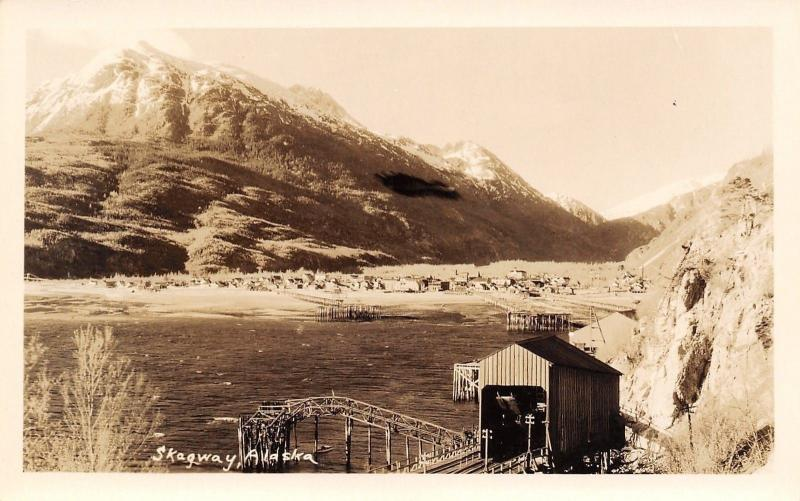 Skagway Alaska~End of Line~Railroad Train Shed~1930s Real Photo Postcard RPPC