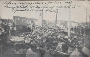 CHELSA , Massachusetts, 1908 ; 4 postcards of Giant Fire