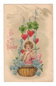 Valentine Cupid in Basket Hearts Doves Shamrocks Embossed B W Germany Postcard