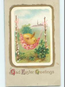 Pre-Linen easter CHICK SITTING ON HAMMOCK MADE OF FLOWERS & PUSSYWILLOWS HL0855