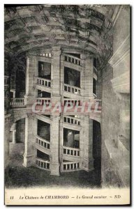 Old Postcard Chambord Chateau Grand staircase
