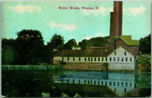 Warren, Ohio Postcard WATER WORKS Plant / Smokestack Stand Pipe c1910s Unused