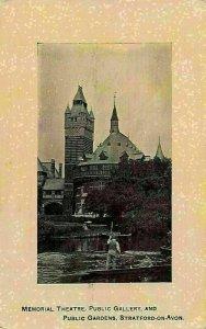Memorial Theatre Public Gallery and Public Gardens Stratford on Avon Postcard