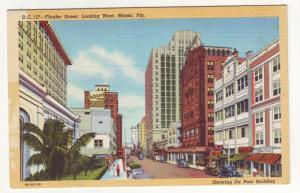 P275 JL 1930-45 postcard miami fl flagler st scene old cars