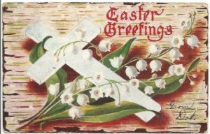White Cross & White Lily of The Valley on Birch Bark Vintage Postcard Easter