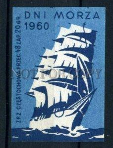 500781 POLAND Sea Day sailing ship Vintage match label