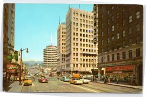 Hollywood and Vine street scene Capitol Records Taft Building Rexall drugs 1956