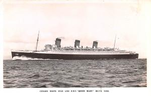 Cunard White Star Line Ship Post Card, Old Vintage Antique Postcard RMS Queen...