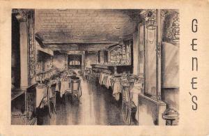 New York City Genes Restaurant Interior Antique Postcard K106721