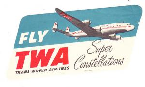 TWA Super Constellation Baggage Label