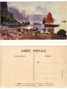 CPA TONKIN Le crachin en baie d'Along`. VIETNAM INDOCHINE (463466)