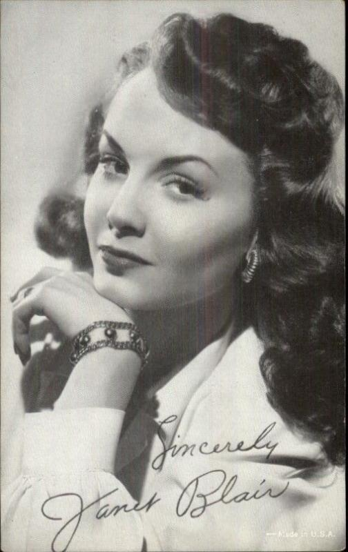 Beautiful Actress Janet Blair - Exhibit Arcade Card