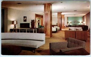 ATHENS, OH ~ OHIO UNIVERSITY Center 1954 Lounge Mid Century Modern  Postcard