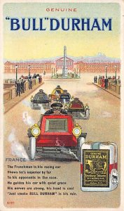 Vinatge Auto Pre 1950 Post Card Genuine Bull Durham France Unused
