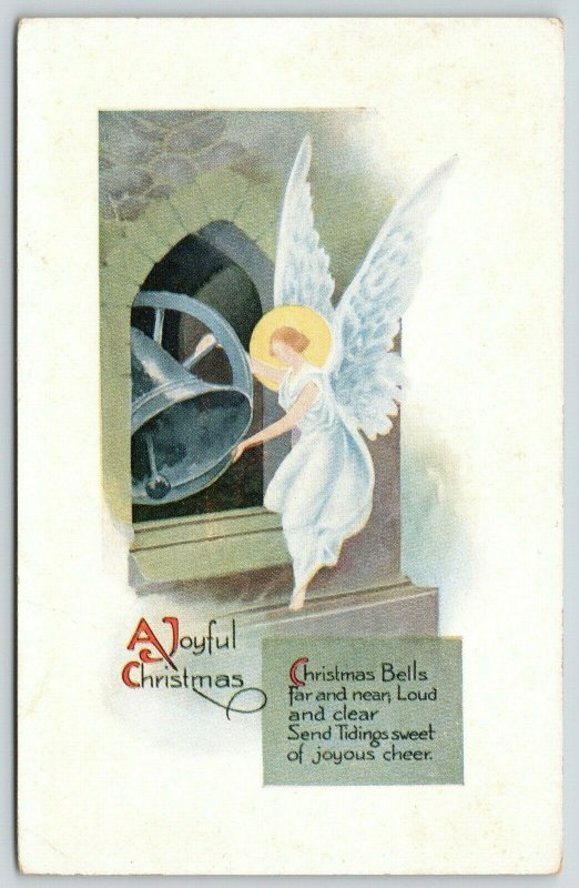Christmas~Art Deco Christmas Angel on Bell Tower Ledge~Pink of Perfection~1916