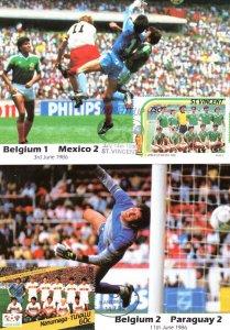 Belgium vs Mexico Paraguay 2x 1986 World Cup Football Postcard s