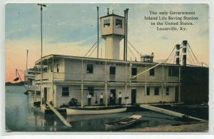 Government Inland Life Saving Station Louisville Kentucky 1910c postcard