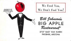 Bill Johnson's BIG APPLE RESTAURANT Phoenix, Arizona Barbecue Vintage Postcard