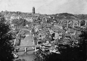 Switzerland Fribourg Cures d'Air des Mutualites Chretiennes Pont Bridge Panorama