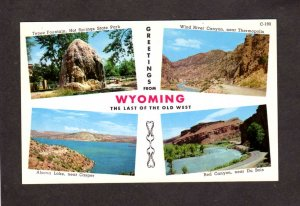 WY Greetings From Wyoming Postcard Alcova Lake Red Canyon Wind River