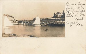 Capitol Island ME Ferry Boat Sail Boats in 1906 Real Photo Postcard