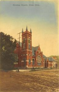 Niles Ohio~Christian Church on the Corner~Rutted Dirt Road~Houses~1910 Hancolor