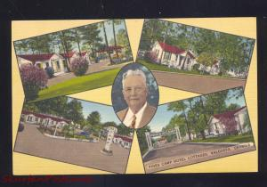 VALDOSTA GEORGIA PINES CAMP MOTEL COTTAGES LINEN ADVERTISING POSTCARD GA.