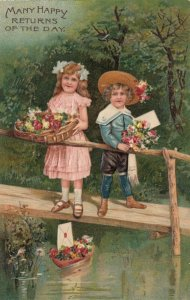 Children holding flowers on a bridge, Flowers in boat on a lake, PFB 9470