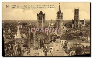 Postcard Old Ghent Panorama St Nicolas Church The Belfry and St Bavo & # 39eg...