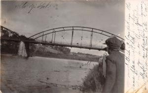 Pomeroy IA~Double Span Camelback Bridge~Mankato Luverne MN~1907 Real Photo~RPPC