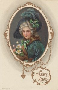 Victorian woman in Green , A Merry Christmas , 00-10s