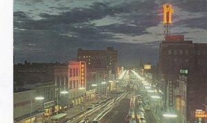 North Dakota Fargo Broadway At Night 1967 sk7542