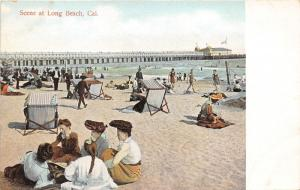 Long Beach California~Girls Sitting on Beach w Unique Hats~Pier Bknd~c1910 Pc
