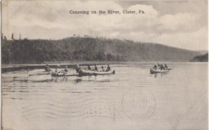ULSTER PA - Group of people CANOEING ON THE SUSQUEHANNA RIVER - 1910s era