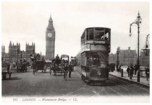 Postcard Tram on Westminster Bridge, London, c1900 Reproduction Card #981