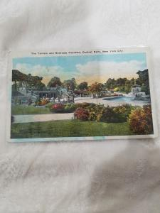 Antique Postcard, The Terrace and Bethesda Fountain, Central Park, New York