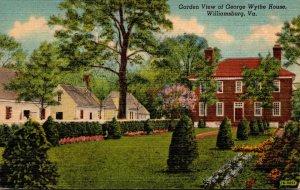 Virginia Williamsburg Garden View Of George Wythe House Curteich