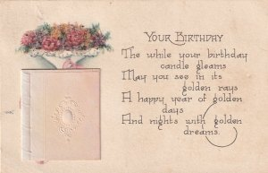 Birthday Crystal Flowers Small Card Attached to Parker KS Postcard B34