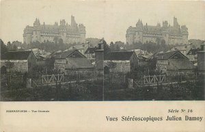 Postcard France stereographic image Pierrefonds Chateau