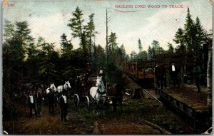 Vintage Railroad Postcard HAULING CORD WOOD TO TRACK Train / Stage Coach 1910s