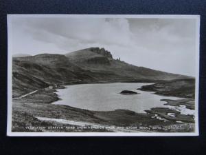 Scotland Isle of Skye STAFFIN ROAD Loch Fada & Storr Rock c1931 RP Postcard